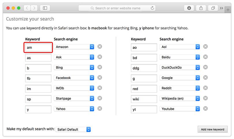 Change Safari search engine - delete search engine